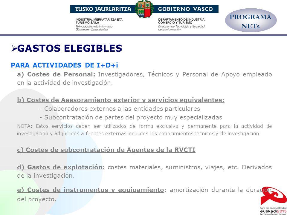 GASTOS ELEGIBLES PROGRAMA NETs PARA ACTIVIDADES DE I+D+i