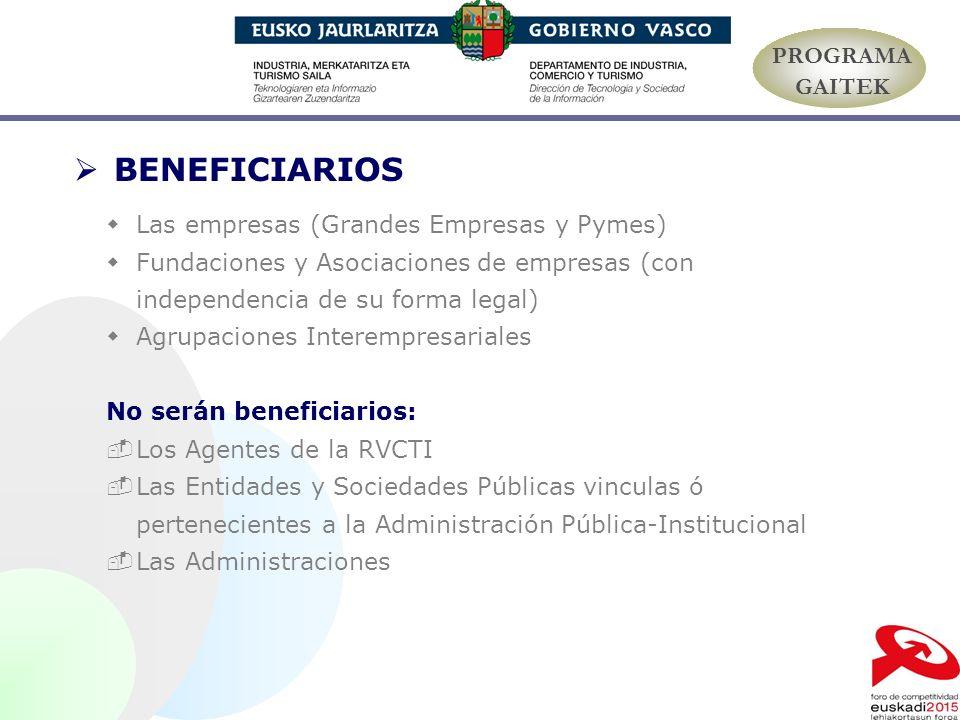 BENEFICIARIOS PROGRAMA GAITEK Las empresas (Grandes Empresas y Pymes)