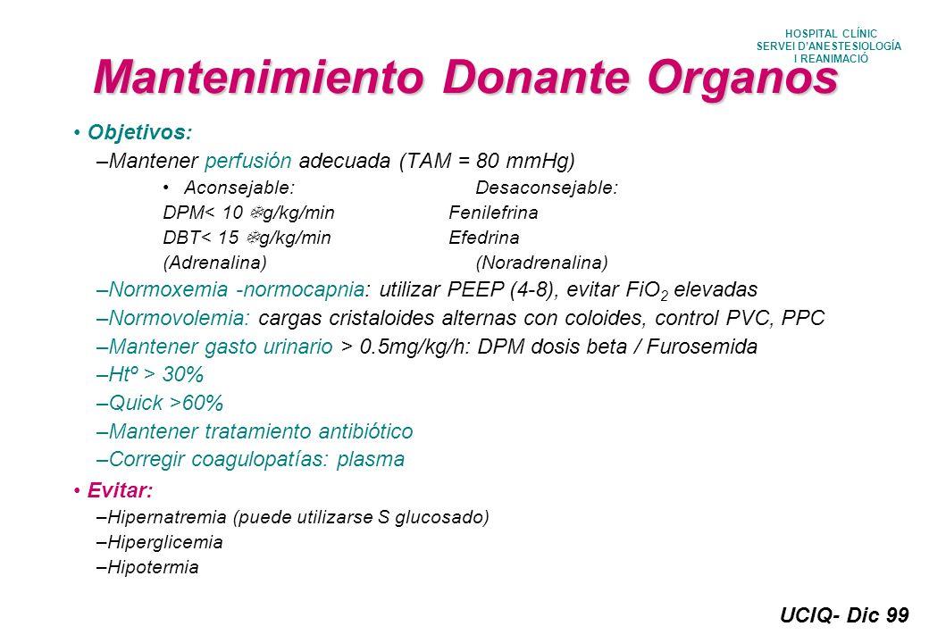 Mantenimiento Donante Organos
