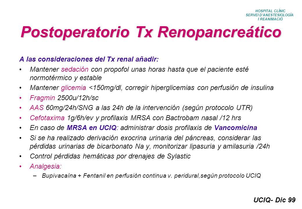 Postoperatorio Tx Renopancreático