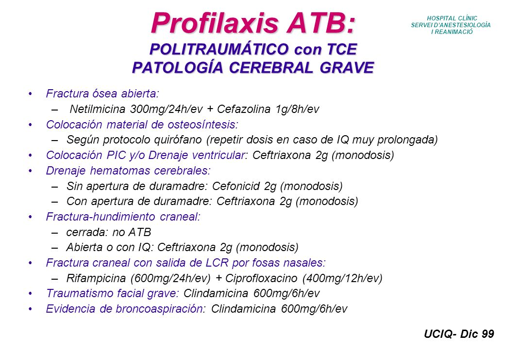 Profilaxis ATB: POLITRAUMÁTICO con TCE PATOLOGÍA CEREBRAL GRAVE
