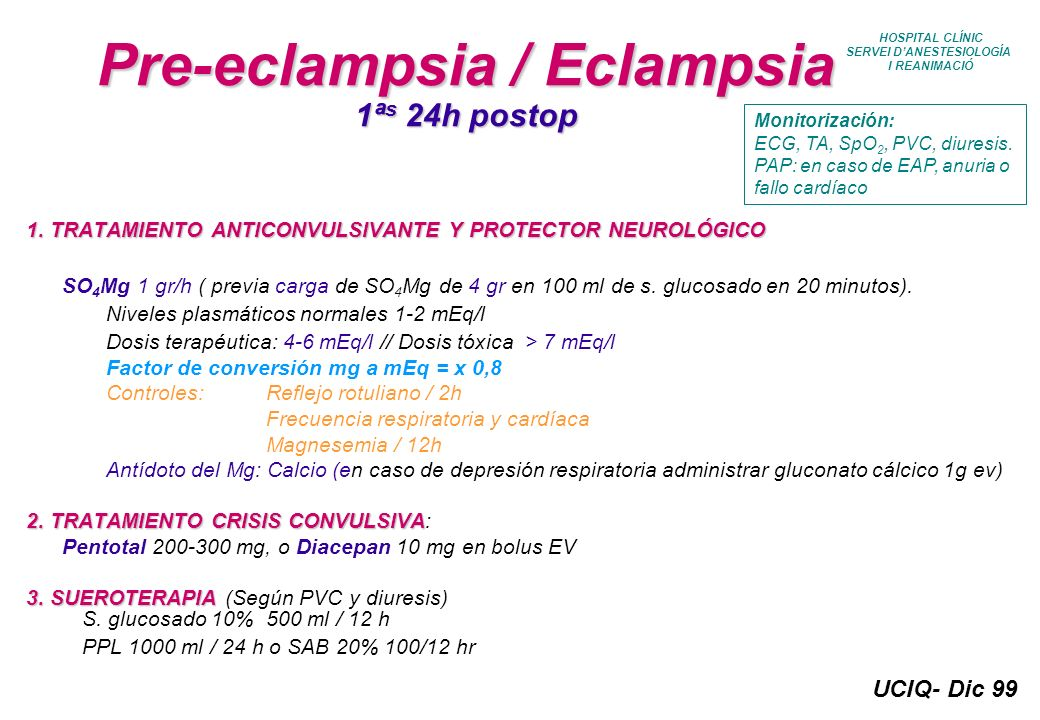 Pre-eclampsia / Eclampsia 1ªs 24h postop