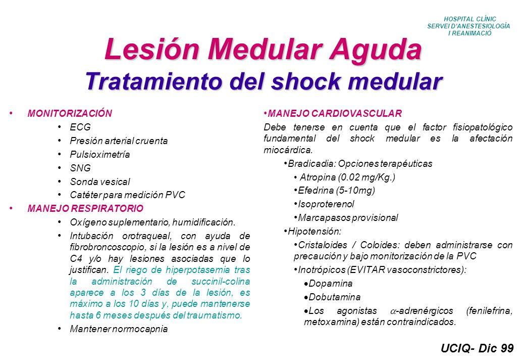 Lesión Medular Aguda Tratamiento del shock medular