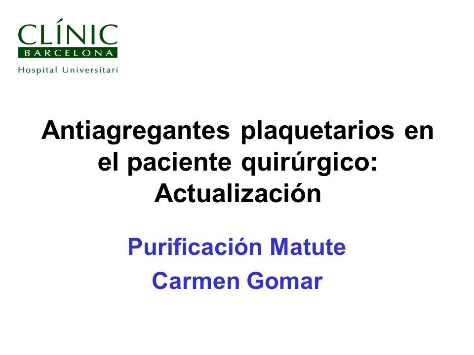 Antiagregantes plaquetarios en el paciente quirúrgico: Actualización
