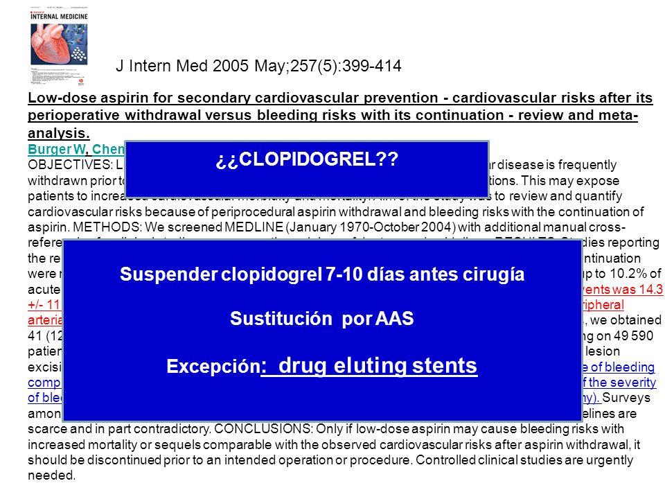 Suspender clopidogrel 7-10 días antes cirugía Sustitución por AAS