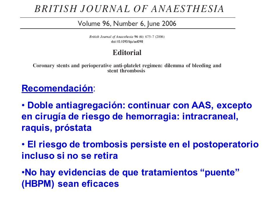 Recomendación: Doble antiagregación: continuar con AAS, excepto en cirugía de riesgo de hemorragia: intracraneal, raquis, próstata.