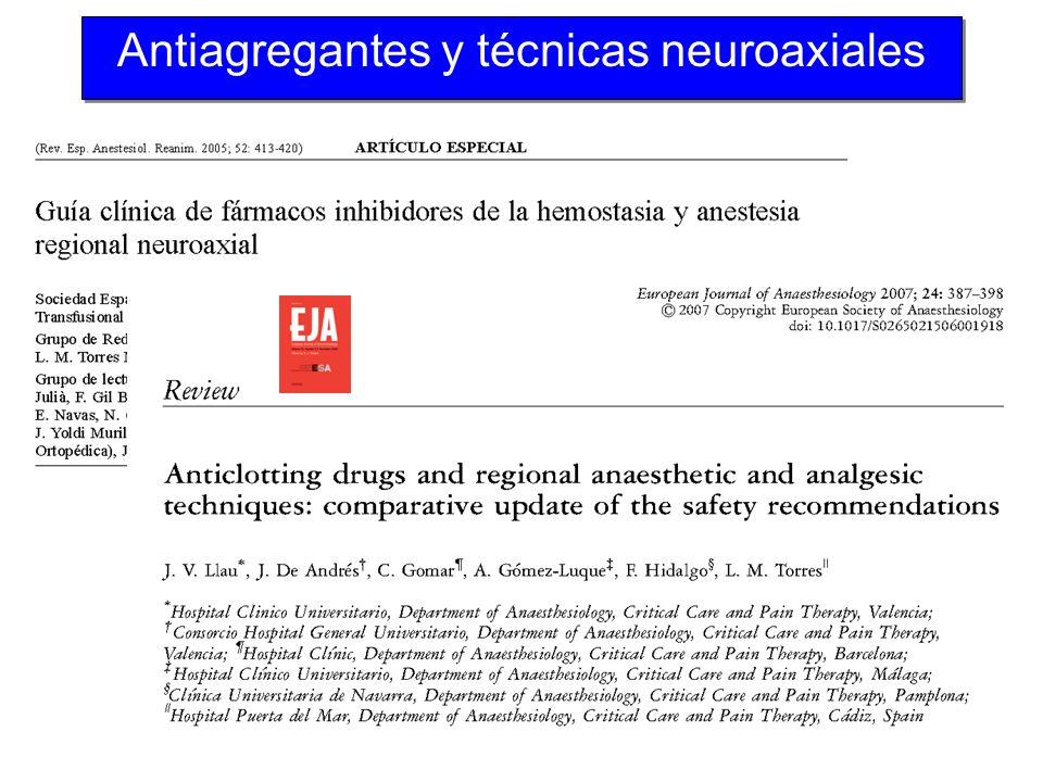 Antiagregantes y técnicas neuroaxiales