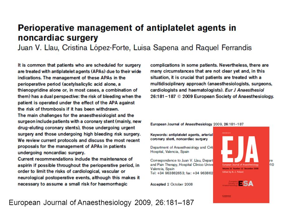 European Journal of Anaesthesiology 2009, 26:181–187