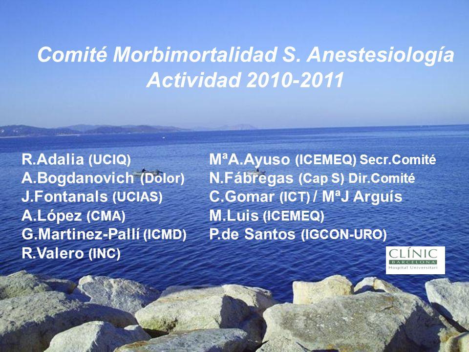 Comité Morbimortalidad S. Anestesiología