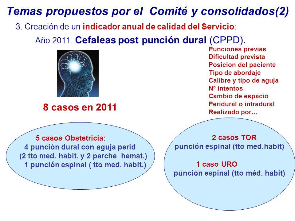 Temas propuestos por el Comité y consolidados(2)