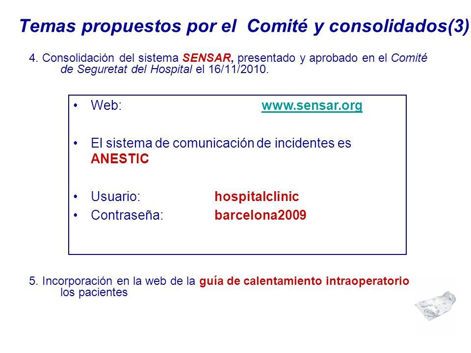 Temas propuestos por el Comité y consolidados(3)