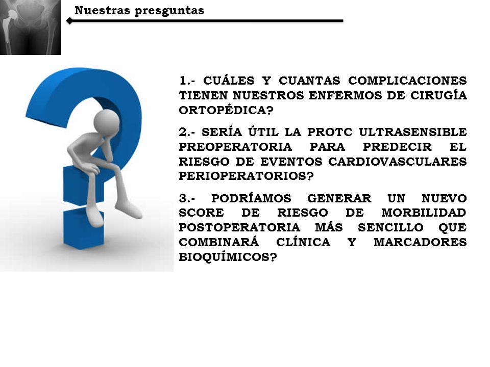 Nuestras presguntas 1.- CUÁLES Y CUANTAS COMPLICACIONES TIENEN NUESTROS ENFERMOS DE CIRUGÍA ORTOPÉDICA