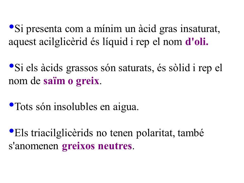 Si presenta com a mínim un àcid gras insaturat, aquest acilglicèrid és líquid i rep el nom d oli.
