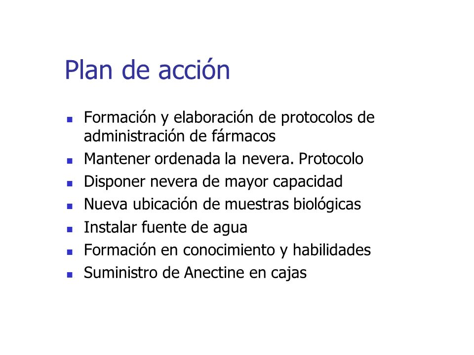 Plan de acción Formación y elaboración de protocolos de administración de fármacos. Mantener ordenada la nevera. Protocolo.