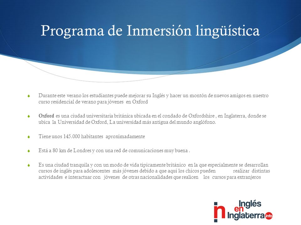 Programa de Inmersión lingüística