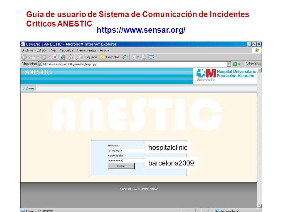 Guía de usuario de Sistema de Comunicación de Incidentes