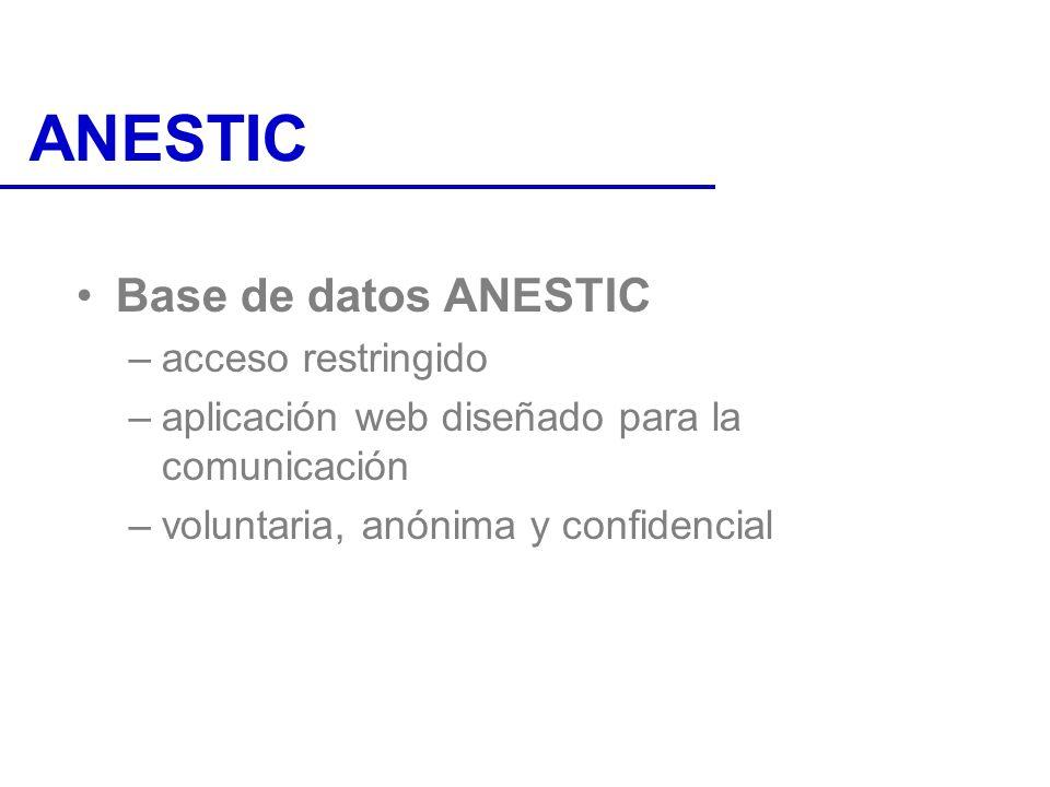 ANESTIC Base de datos ANESTIC acceso restringido