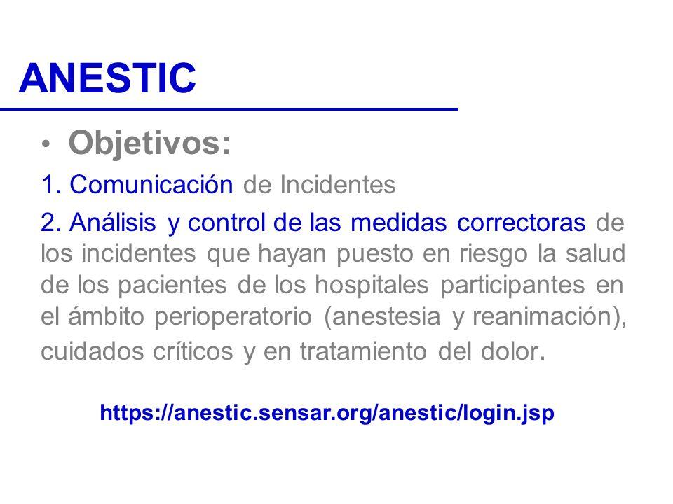 ANESTIC Objetivos: 1. Comunicación de Incidentes