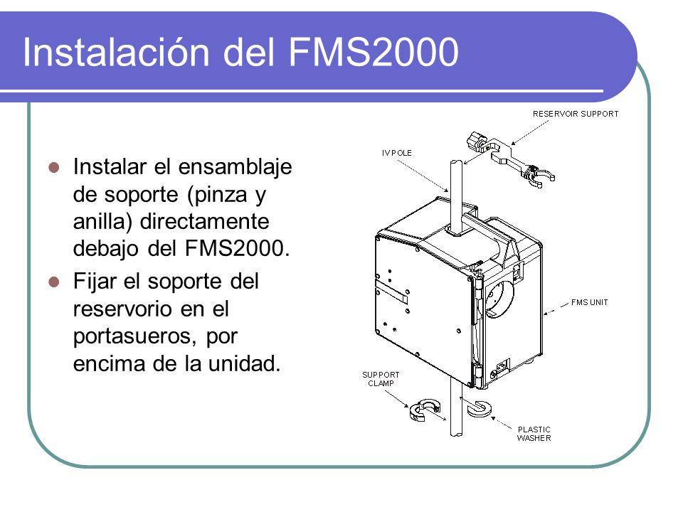 Instalación del FMS2000 Instalar el ensamblaje de soporte (pinza y anilla) directamente debajo del FMS2000.