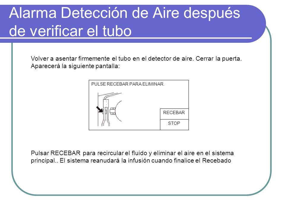 Alarma Detección de Aire después de verificar el tubo