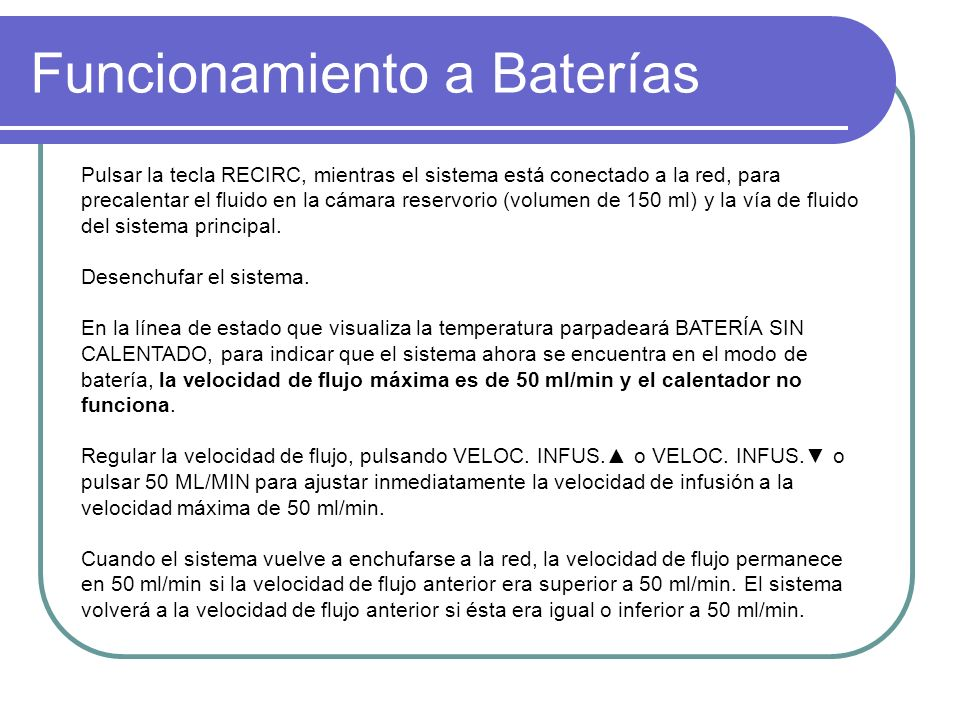 Funcionamiento a Baterías