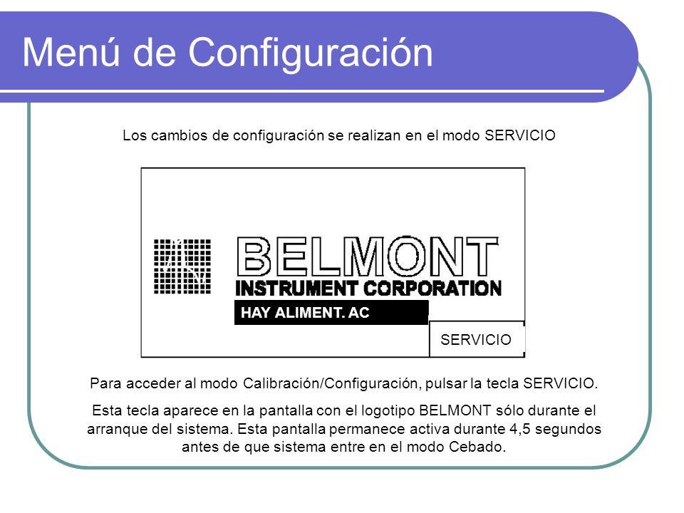 Menú de Configuración Los cambios de configuración se realizan en el modo SERVICIO. HAY ALIMENT. AC.
