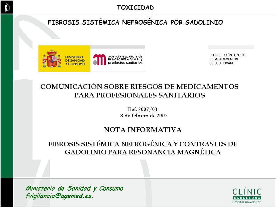 TOXICIDAD FIBROSIS SISTÉMICA NEFROGÉNICA POR GADOLINIO.