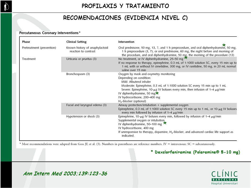 PROFILAXIS Y TRATAMIENTO RECOMENDACIONES (EVIDENCIA NIVEL C)
