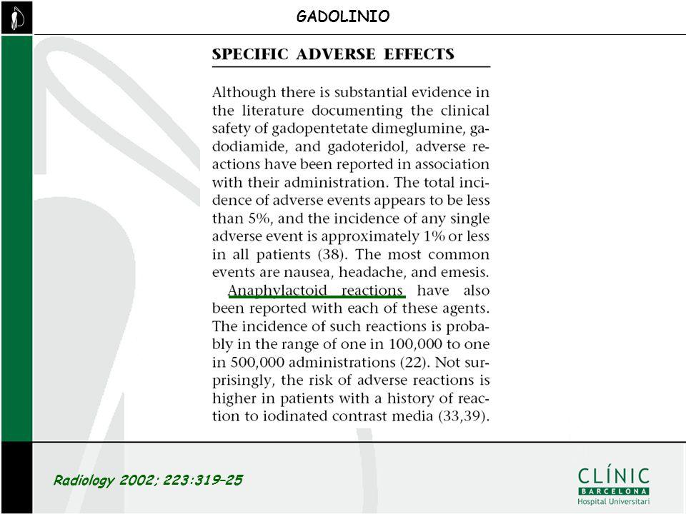 GADOLINIO Radiology 2002; 223:319–25