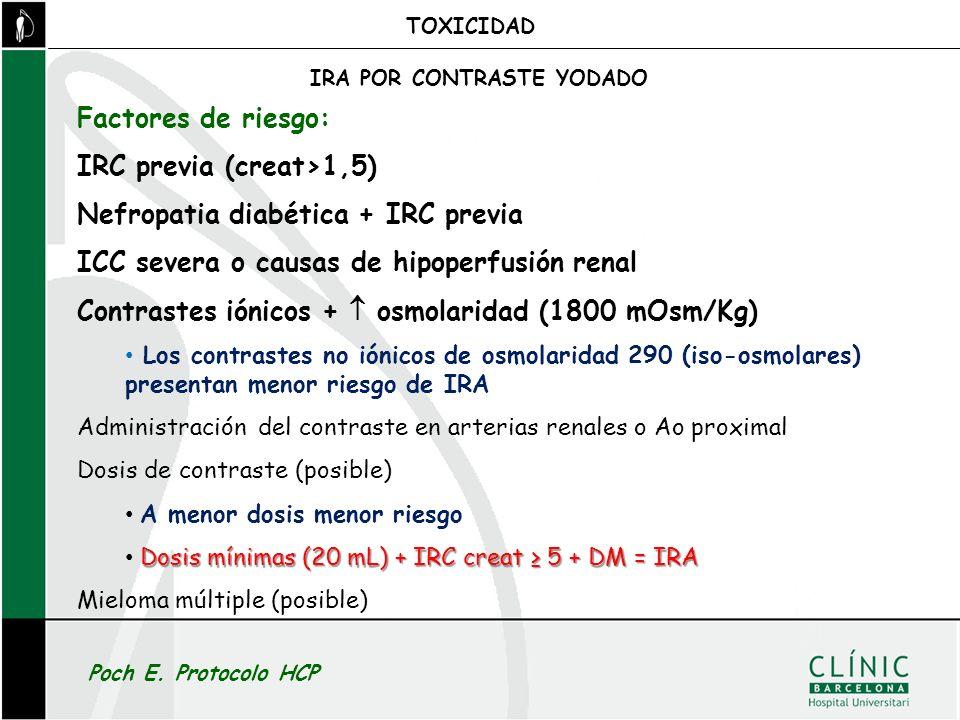 IRC previa (creat>1,5) Nefropatia diabética + IRC previa