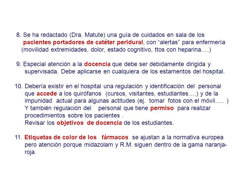 8. Se ha redactado (Dra. Matute) una guía de cuidados en sala de los