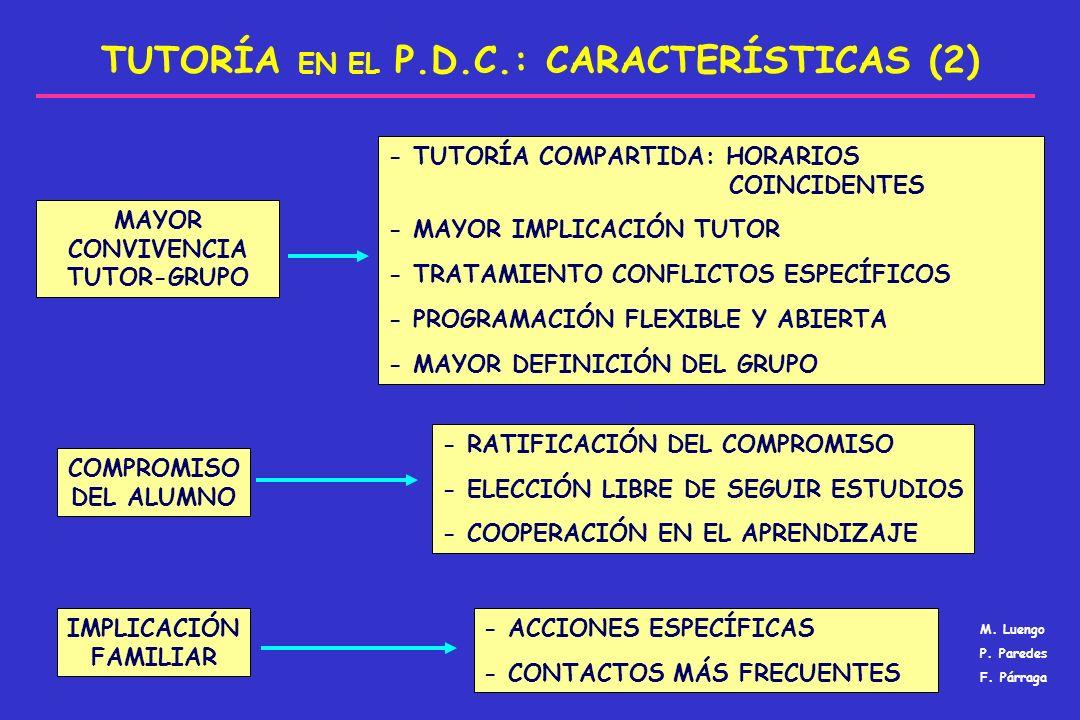 TUTORÍA EN EL P.D.C.: CARACTERÍSTICAS (2)