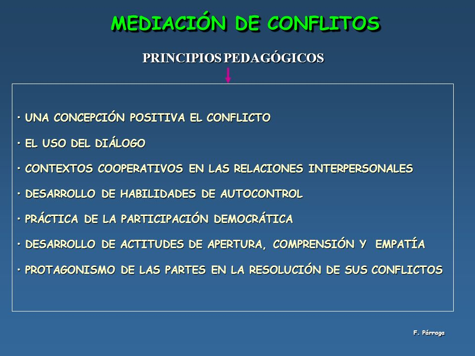 MEDIACIÓN DE CONFLITOS PRINCIPIOS PEDAGÓGICOS