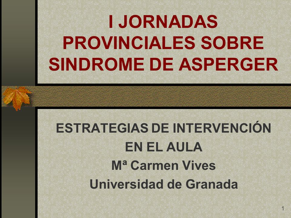I JORNADAS PROVINCIALES SOBRE SINDROME DE ASPERGER