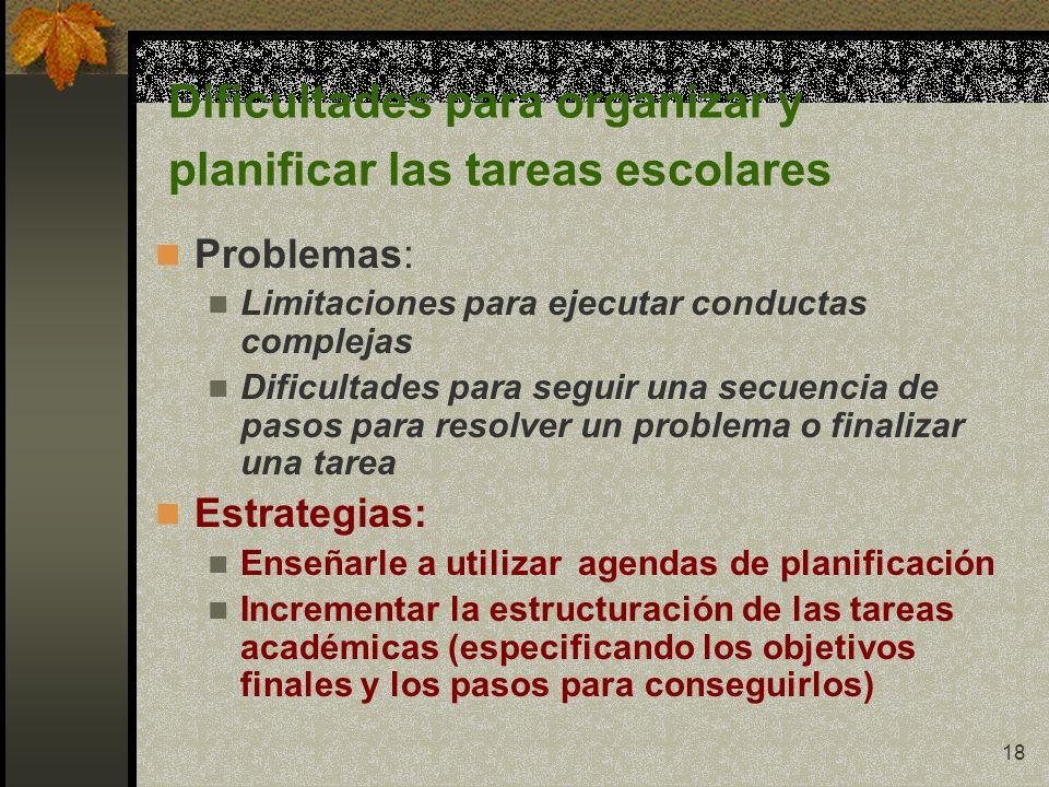 Dificultades para organizar y planificar las tareas escolares
