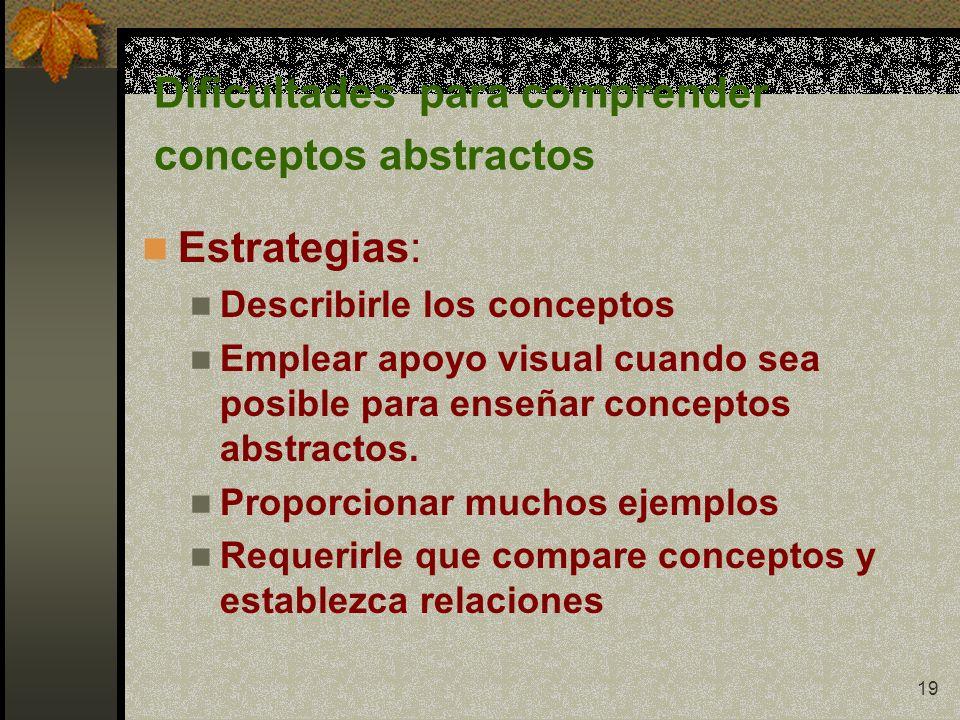 Dificultades para comprender conceptos abstractos