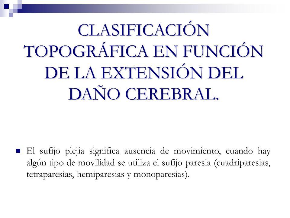 CLASIFICACIÓN TOPOGRÁFICA EN FUNCIÓN DE LA EXTENSIÓN DEL DAÑO CEREBRAL.