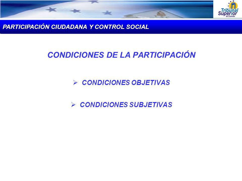 CONDICIONES DE LA PARTICIPACIÓN