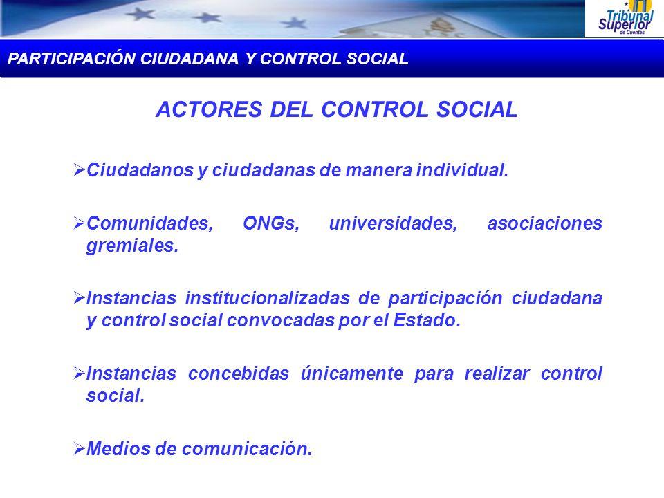 ACTORES DEL CONTROL SOCIAL