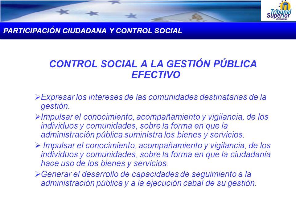 CONTROL SOCIAL A LA GESTIÓN PÚBLICA EFECTIVO