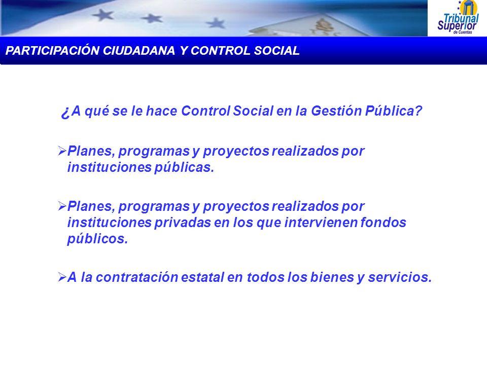 ¿A qué se le hace Control Social en la Gestión Pública