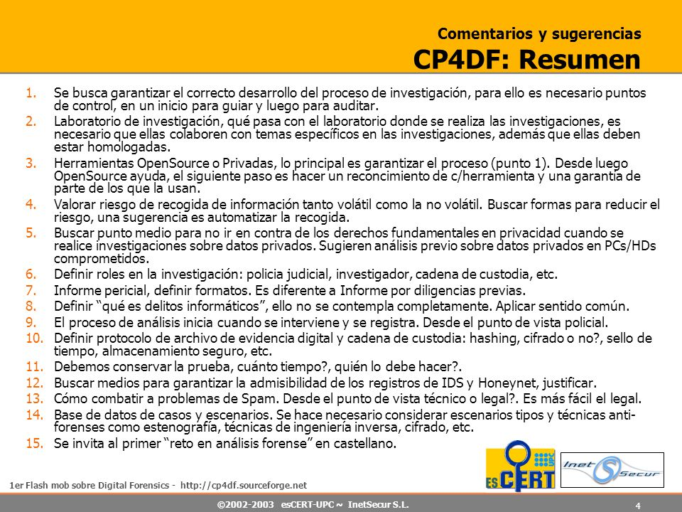 Comentarios y sugerencias CP4DF: Resumen