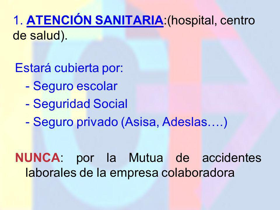 1. ATENCIÓN SANITARIA:(hospital, centro de salud).