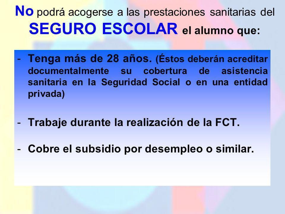 No podrá acogerse a las prestaciones sanitarias del SEGURO ESCOLAR el alumno que: