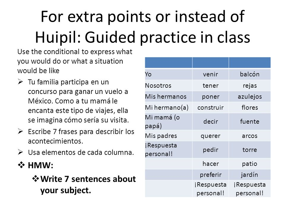 For extra points or instead of Huipil: Guided practice in class