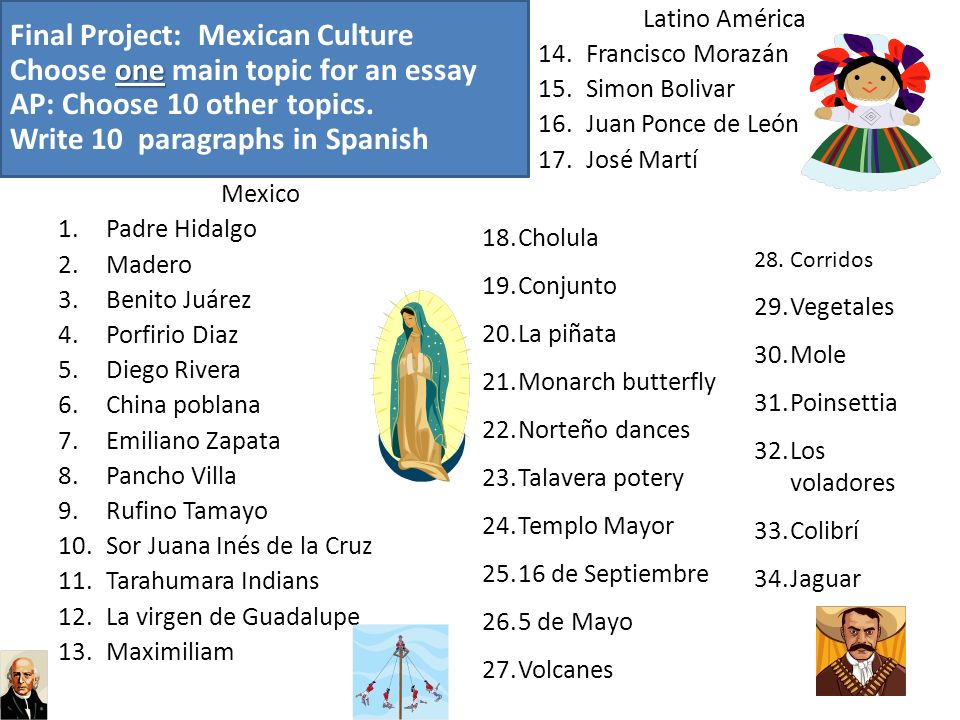 Final Project: Mexican Culture Choose one main topic for an essay