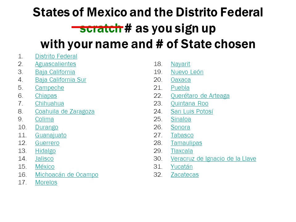 States of Mexico and the Distrito Federal scratch # as you sign up with your name and # of State chosen