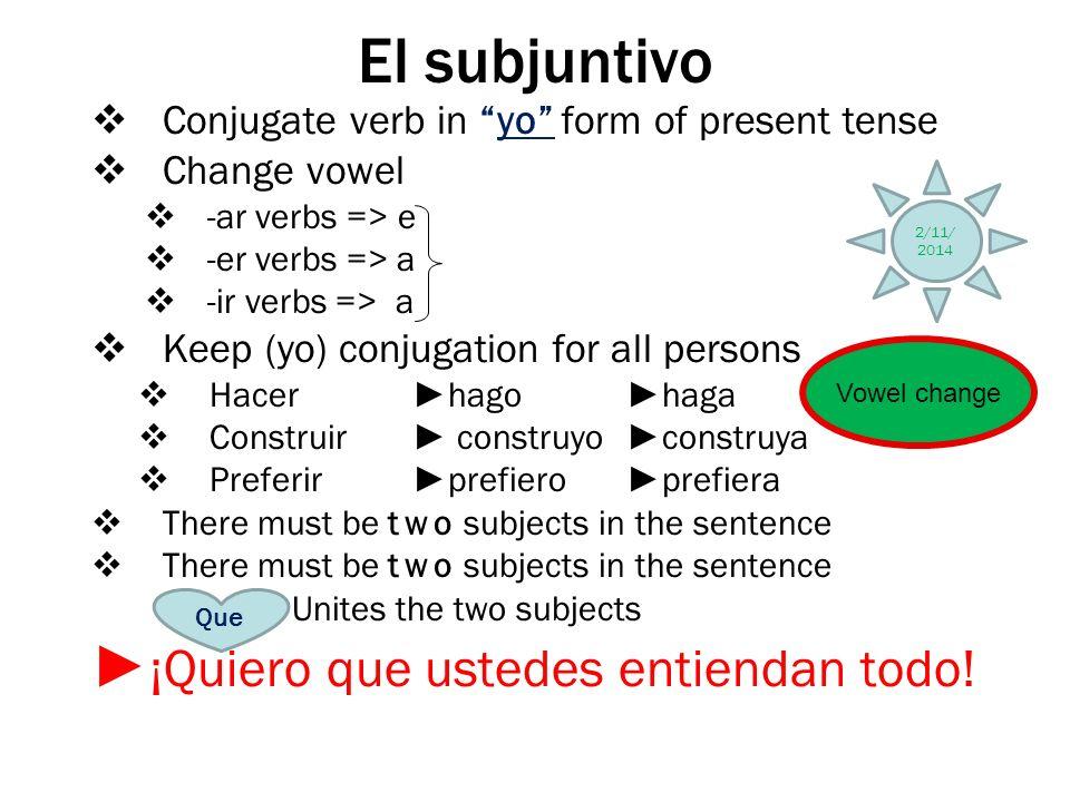 El subjuntivo ►¡Quiero que ustedes entiendan todo!