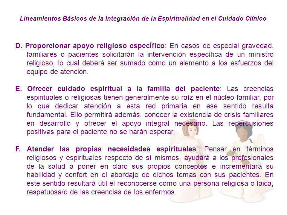 Lineamientos Básicos de la Integración de la Espiritualidad en el Cuidado Clínico
