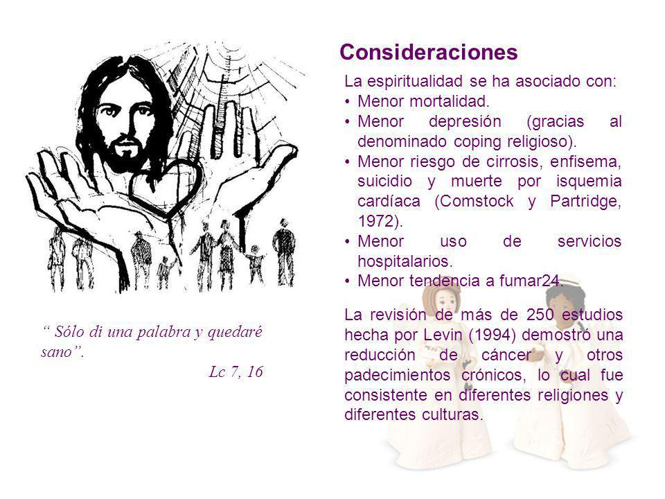 Consideraciones La espiritualidad se ha asociado con: